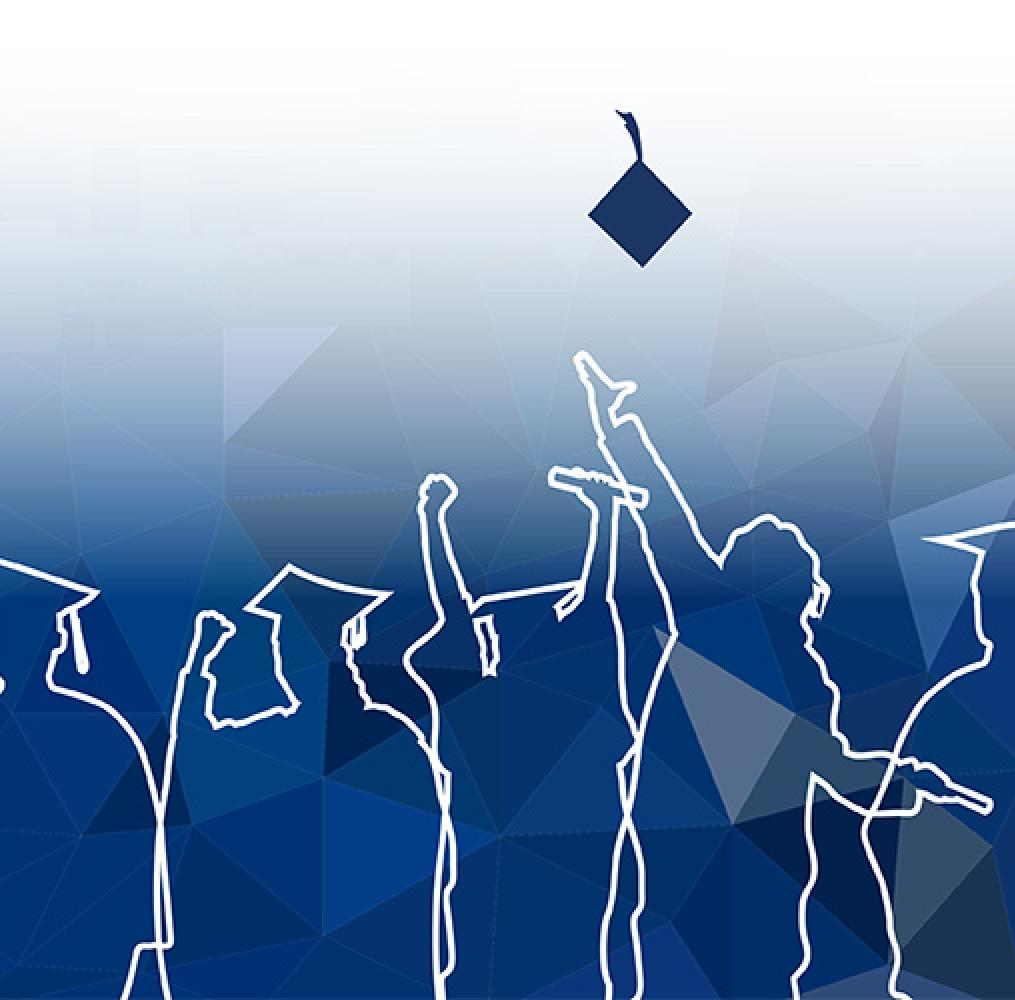 Graphic of graduates throwing cap in the air