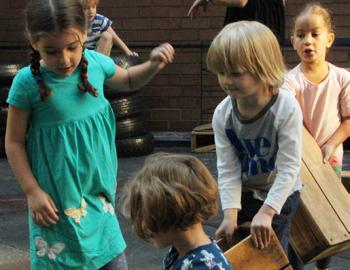 Elementary students playing